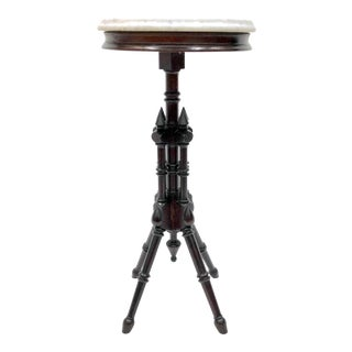 Eastlake Victorian Mahogany & Marble Top Stand Table For Sale