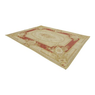 Vintage Tan Floral Aubusson Tapestry Area Rug Made in France - 8′6″ × 11′7″ For Sale
