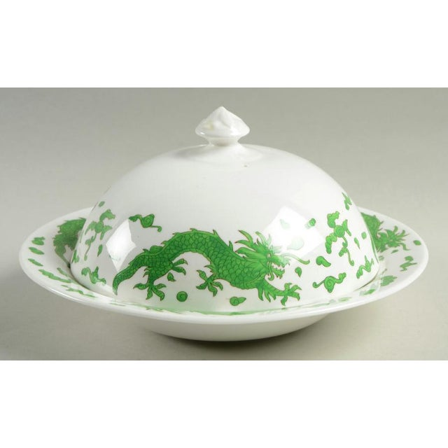 1960s Hammersley Green Dragon Round Covered Butter Dish For Sale - Image 9 of 9
