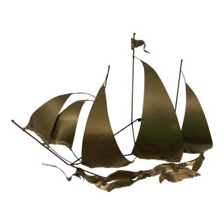 Mid-Century Brutalist Brass Sailboat Sculpture
