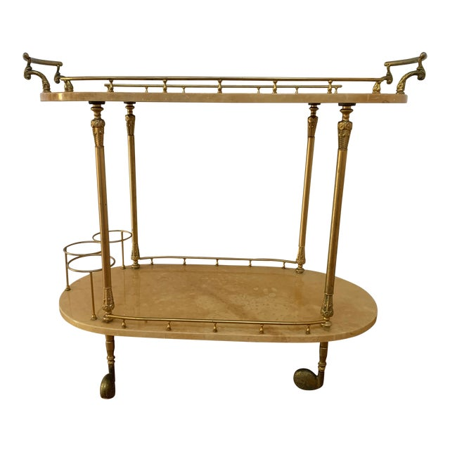 Aldo Tura Parchment and Brass Bar Cart For Sale