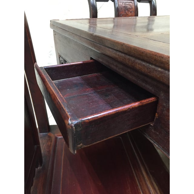 Wood Late 19th Century Antique Chinese Gaming Table & Chairs- 5 Pieces For Sale - Image 7 of 13