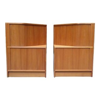 Poul Hundevad Teak Tambour Side End Cabinets Nightstands ~ a Pair For Sale