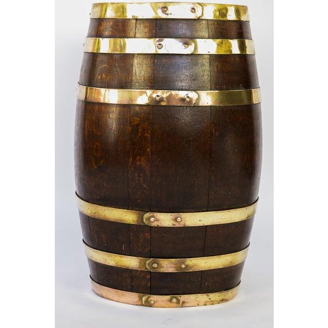 English Brass Bound Oak Barrel, Circa 1890 For Sale In San Francisco - Image 6 of 7