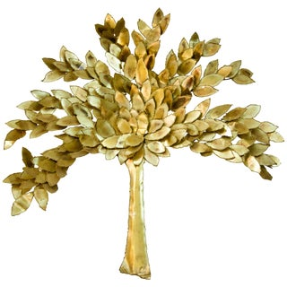 Golden Colored Wall Sculpture of a Tree by Curtis Jere, Artisan House For Sale