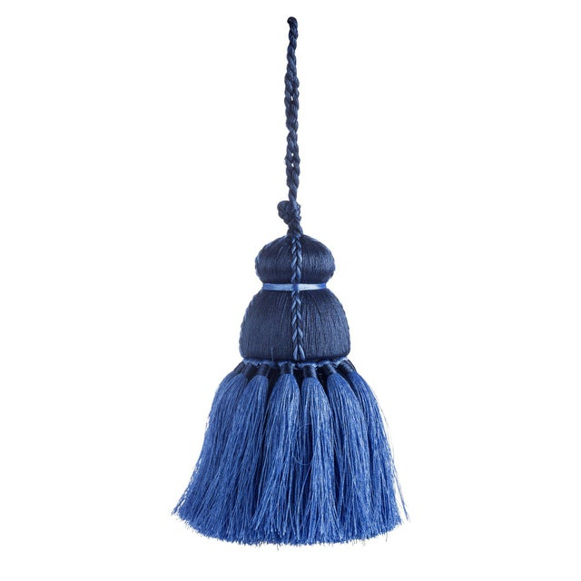 Traditional Navy & French Blue Tassel, Small For Sale - Image 3 of 3