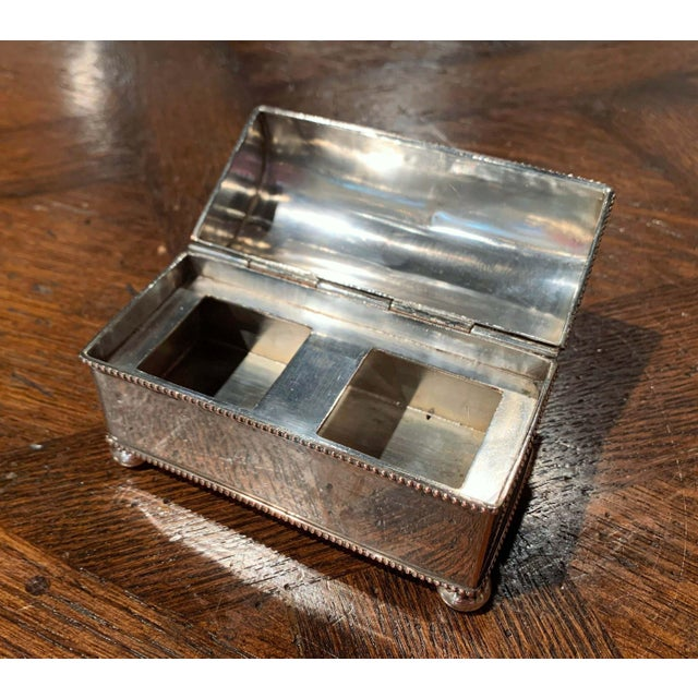 Silver 19th Century French Silver Plated Over Copper Casket Inkwell For Sale - Image 8 of 12