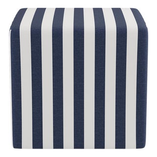 Cube Ottoman in Navy Cabana Stripe For Sale