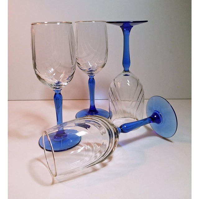 Art Deco Vintage Lenox Swag Pattern Cobalt Blue Stem Wine Goblets - Set of 4 For Sale - Image 3 of 6