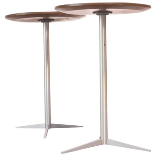 1960s Thonet Brushed Aluminum Drink Tables - A Pair For Sale