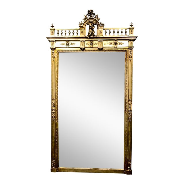 Large 19th Century Antique French Gilt Putti Mirror For Sale