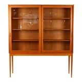 Image of Vintage Danish Oak & Glass Cabinet For Sale