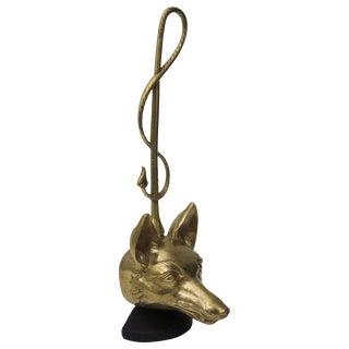 Brass Fox Head and Riding Crop Door Stop For Sale