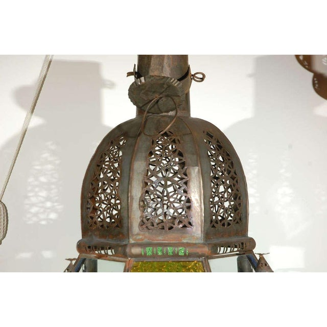 Mid 20th Century Vintage Moorish Glass Lantern From Marrakech For Sale - Image 5 of 10