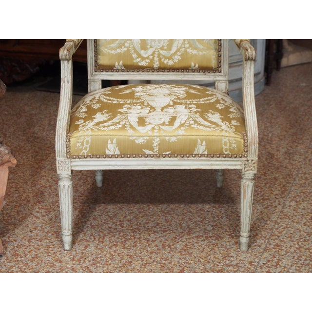 18th Century Painted Louis XVI Armchair For Sale In New Orleans - Image 6 of 11