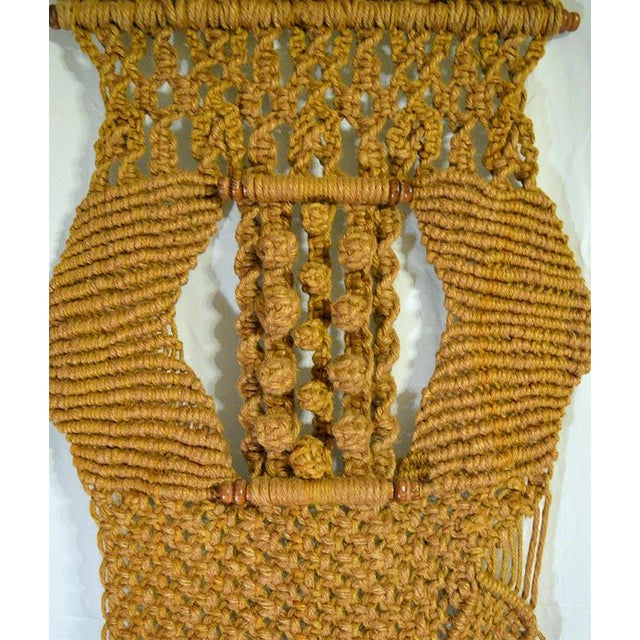 Gold Boho Chic Macrame Wall Hanging For Sale - Image 4 of 4