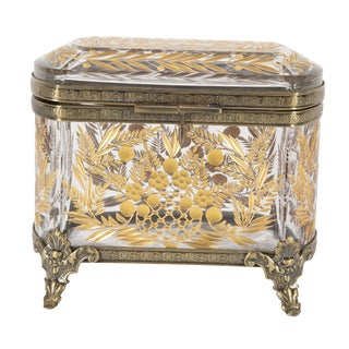 Bohemian Cut Crystal Box With 24 Carat Gilding & Bronze Mounts For Sale