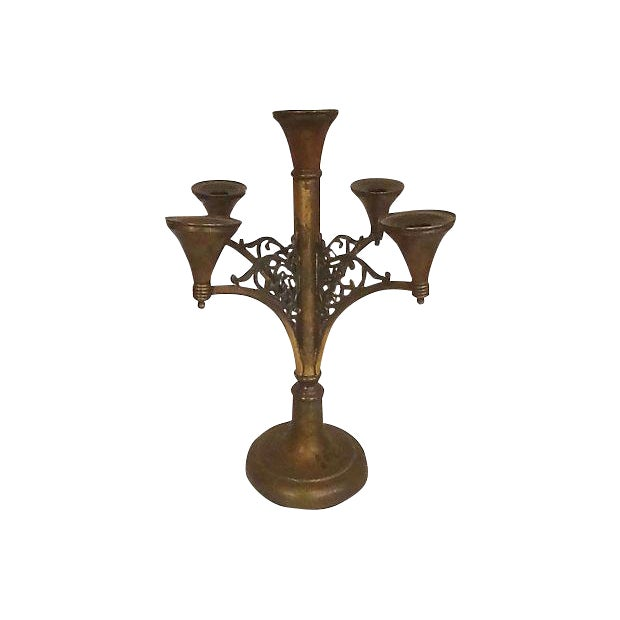 Antique Rogers Silver Co. Copper & Brass Candelabra For Sale