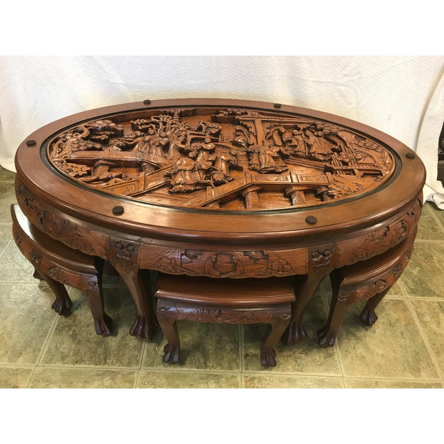 Asian Hand Carved Solid Mahogany Tea Table With 6 Stools