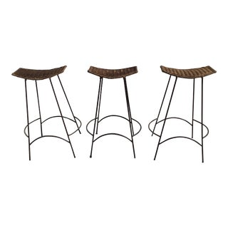 1970s Mid Century Arthur Umanoff Rattan and Iron Bar Stools- Set of 3 For Sale