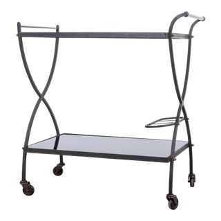 1950s French Iron and Brass Bar Cart For Sale