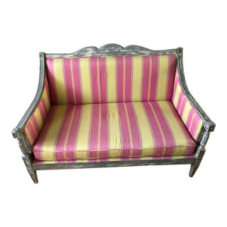Swedish Lime and Pink Loveseat For Sale