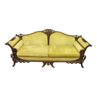 1930s Vintage Mahogany Chinese Chippendale Transitional Swan and Serpent Carved Sofa For Sale