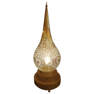 Tall Intricate Moroccan Copper Table Lamp For Sale