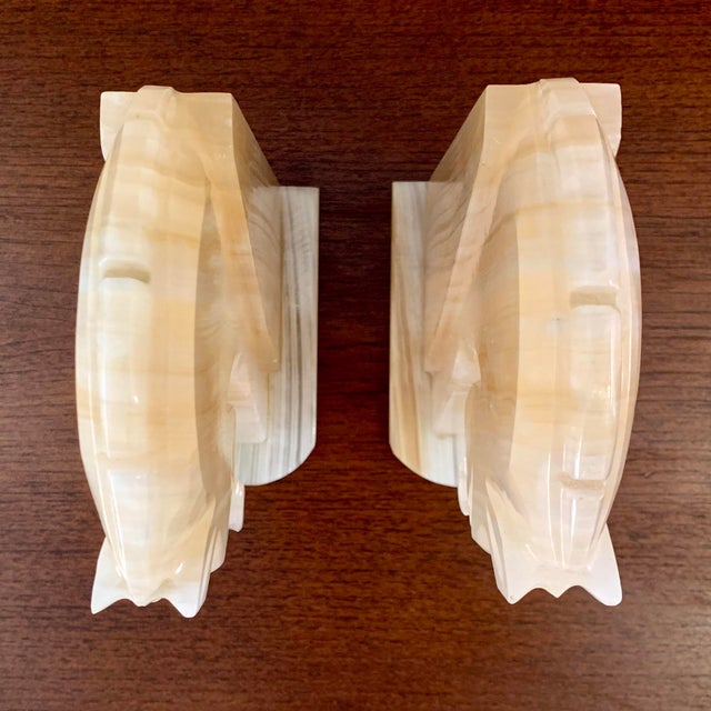 Tan Vintage Art Deco-Style Alabaster Horse Bookends - a Pair For Sale - Image 8 of 13