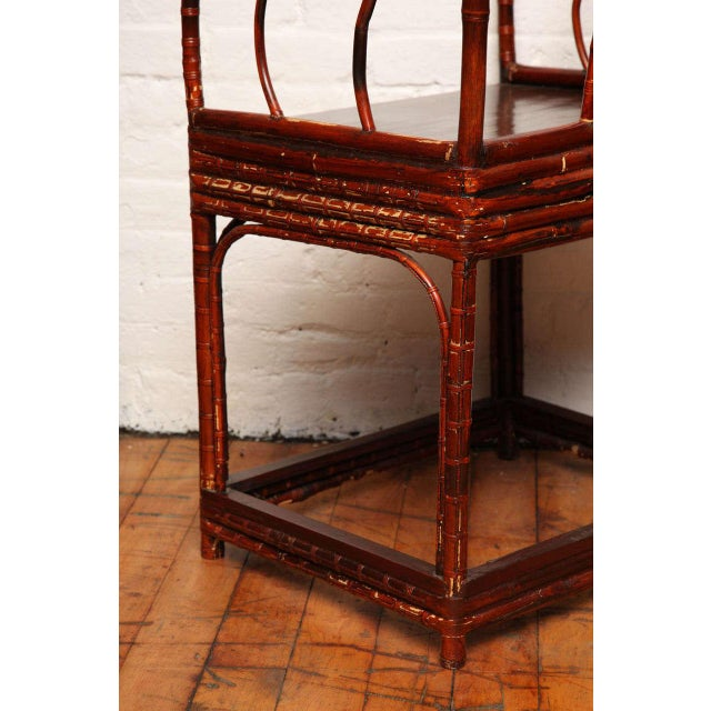 Single 19th Century Chinese Horseshoe-Back Bamboo Armchair with Elm Base For Sale - Image 9 of 12