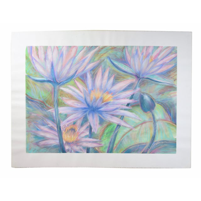 Blue Large Tropical Flowers Color Pastel Drawing #1 by Patricia McGeeney For Sale - Image 8 of 8