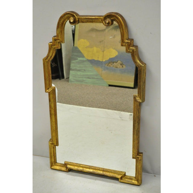 Italian Gold Giltwood Hollywood Regency Scroll Wall Console Mirror Kent Coffey For Sale - Image 10 of 11