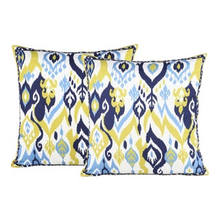 Boho Chic Silk Ikat Ivory Blue Cushion Pillow - a Pair For Sale