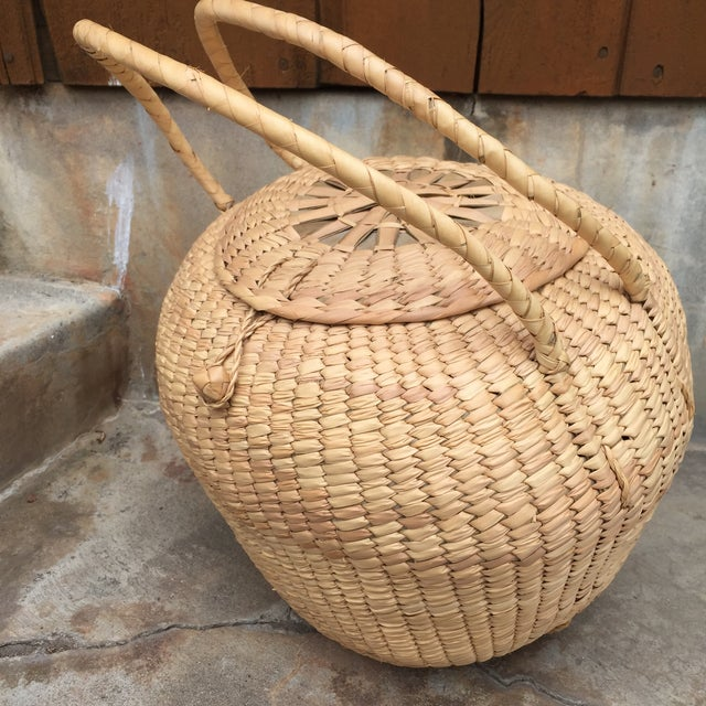 Woven Lidded Basket With Handles - Image 5 of 5