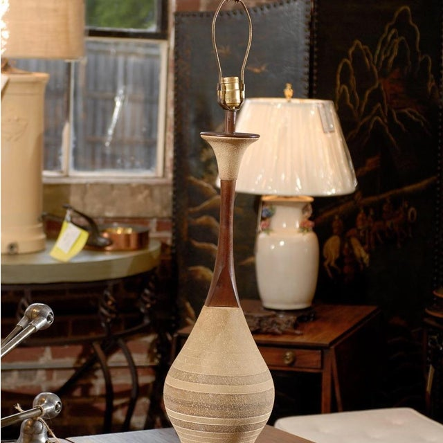 Mid-Century Ceramic and Walnut Lamps- A Pair For Sale - Image 4 of 4
