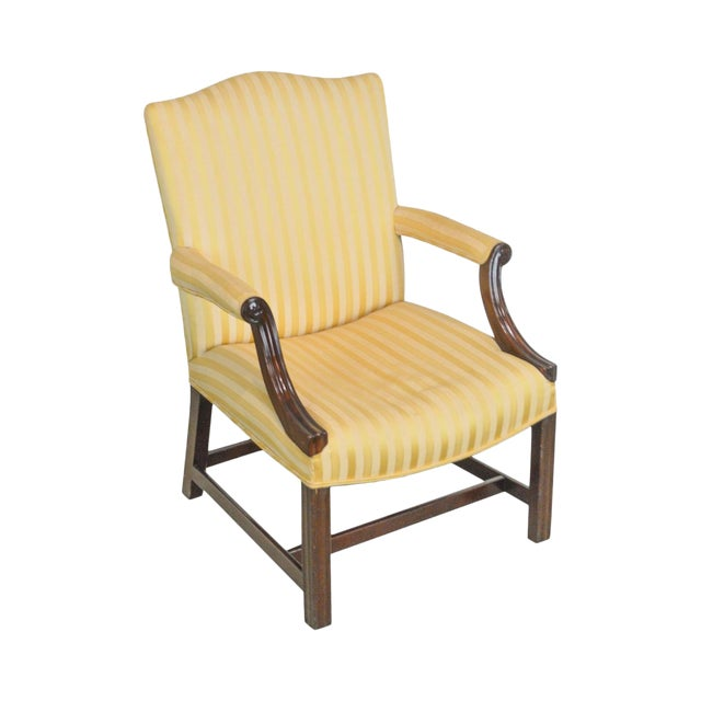 George III Chippendale Period Antique Mahogany Library Chair Circa 1800s - George III Chippendale Period Antique Mahogany Library Chair Circa