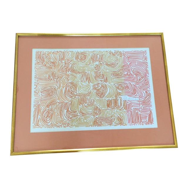Original Abstract Lithograph in Gold Frame - Image 1 of 7