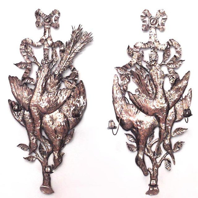 Early 20th Century Rustic German Style Brass Hammered Three-Arm Wall Sconces - a Pair For Sale - Image 5 of 5