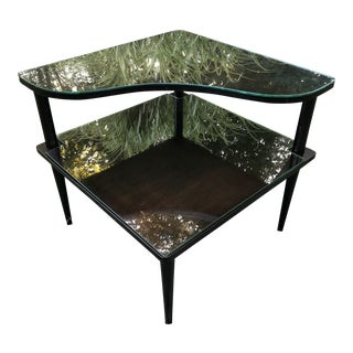 Mid Century Side Corner Table Double Tier W/Glass For Sale
