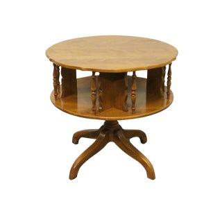 Late 20th Century Ethan Allen Heirloom Nutmeg Maple Drum Table For Sale