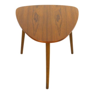 Danish Modern Teak Guitar Pic Side Table For Sale