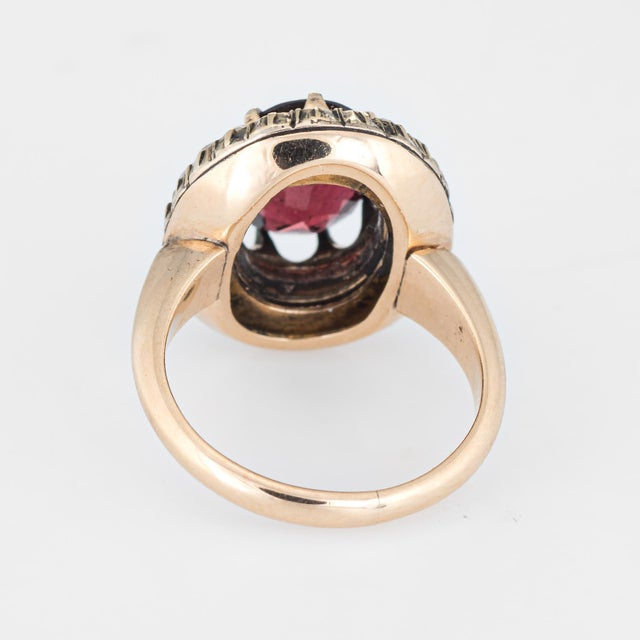 Early 20th Century Antique Deco Garnet Natural Seed Pearl Ring Vintage 14 Karat Yellow Gold Pinky For Sale - Image 5 of 7