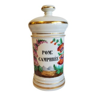 1900s Antique French Porcelain Apothecary Jar For Sale