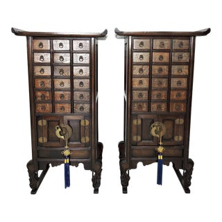 Korean Tansu Chests/Stands With 18 Drawers - a Pair