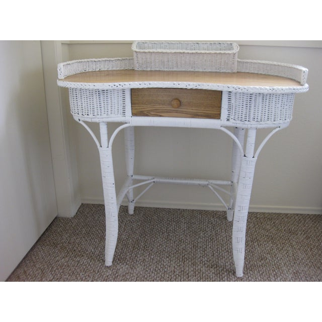 Perfect For Small Spaces Victorian Wicker Desk With Slightly Overhanging Kidney Shaped Oak