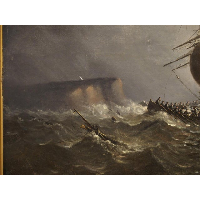 Antique Oil on Canvas Marine Painting From Normandy France, 1883 For Sale - Image 4 of 13