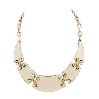 Monet White Enamel X Connectors Bib Necklace For Sale