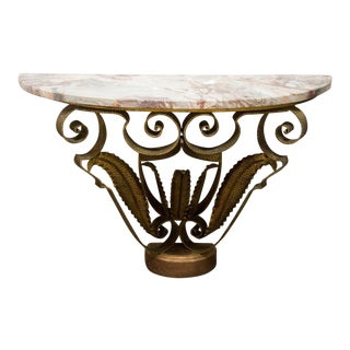 Mid-Century Italian Marble and Brass Demi-Lune Console Table For Sale