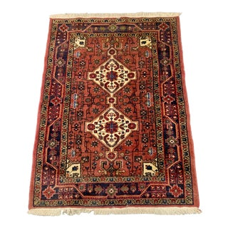 Vintage Persian Mashad Khorassan Wool Rug-3′7″ × 4′9″ For Sale