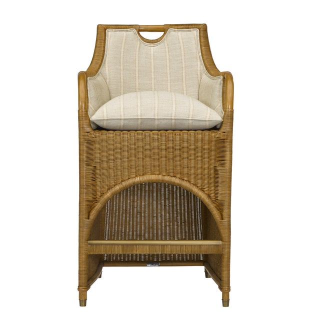 "JAMAICA WICKER BAR STOOL- Upholstered Inside Back, Arms, and Seat Pad ""Fabric: R7432-2 S - Nadeau Stripe Mojave Finish:..."